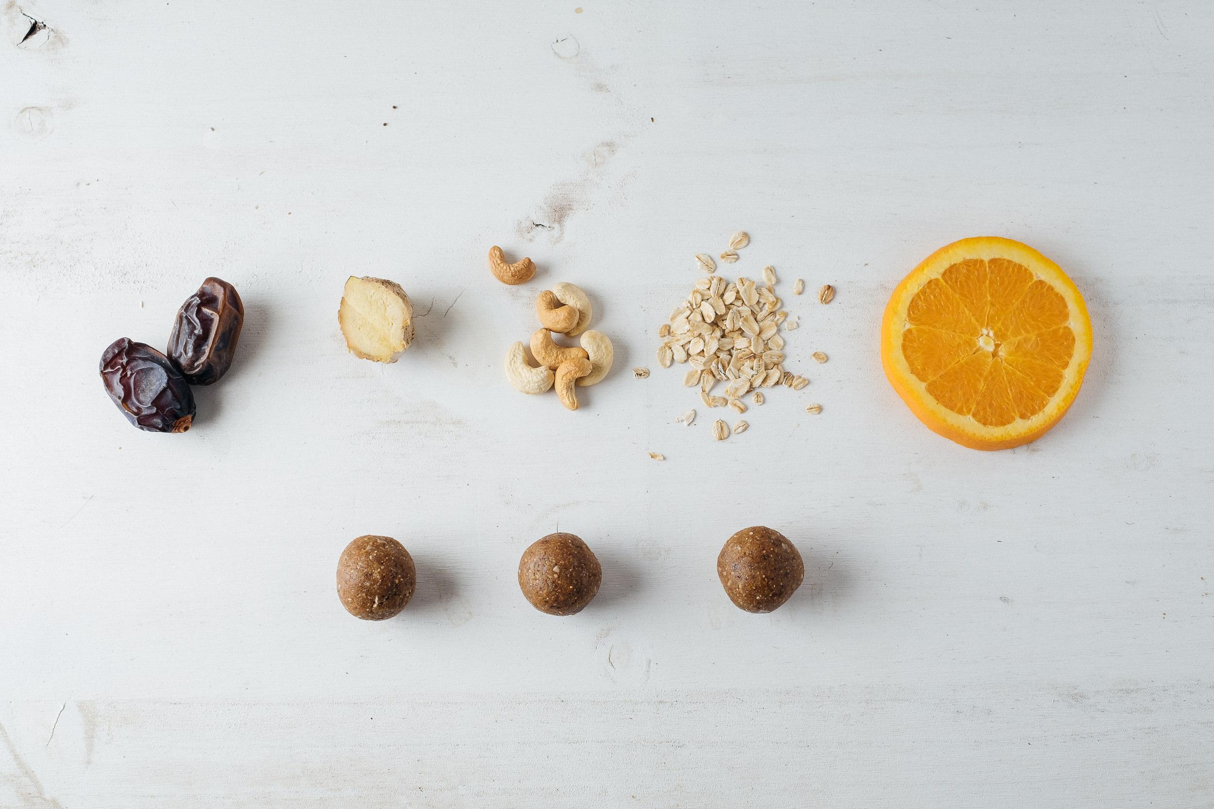 Vegan Balls de anacardo, jengibre y naranja